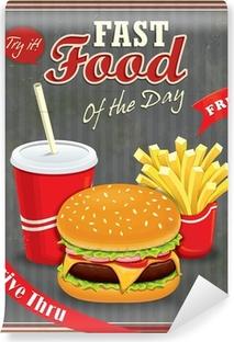 Vinyl-Fototapete Weinlese-Fast-Food-Plakatentwurf mit Burger, Pommes Frites