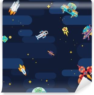 Vinyl-Fototapete Weltraumsternmuster Astronauten Raumschiffe und fliegende Aliens