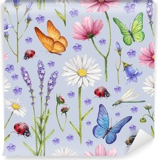 Vinyl-Fototapete Wilde Blumen und Insekten Illustration. Aquarell-Sommer-Muster