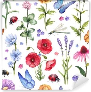 Vinyl-Fototapete Wilde Blumen und Insekten Illustrationen. Aquarell Sommer Muster