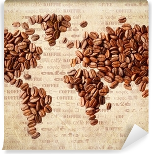 Vinyl-Fototapete World Map Of Coffee Beans