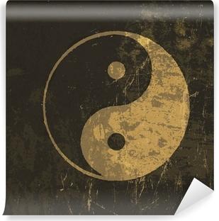 Vinyl-Fototapete Yin-Yang-Symbol Grunge. Mit gefärbt Textur, Vektor