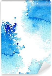 Vinyl-Fototapete Zusammenfassung dunkelblau wässrig frame.Aquatic backdrop.Ink drawing.Watercolor Hand image.Wet splash.White Hintergrund gezeichnet.
