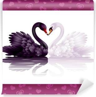Vinyl-Fototapete Zwei anmutige Schwäne in der Liebe: schwarz-weißen Herzen