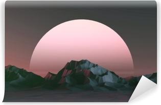 3d illustration - lav poly bjerge landskab ved solnedgang Vinyl fototapet