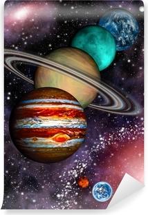 9 planeter af solsystemet, asteroidebånd og spiralgalakse. Vinyl fototapet
