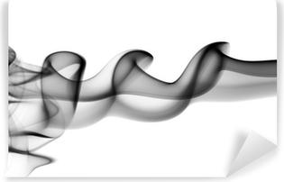 Fototapet av Vinyl Abstrakt svart svetsrök vågor på vit