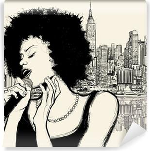 Afro amerikansk jazzsanger Vinyl fototapet
