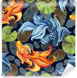 Fototapet av vinyl Akvarell asiatiske gullfisker