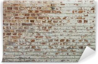 Fototapet av Vinyl Bakgrund gammal tappning smutsig tegelvägg med skalning gips