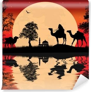 Fototapet av Vinyl Bedouin kamel husvagn