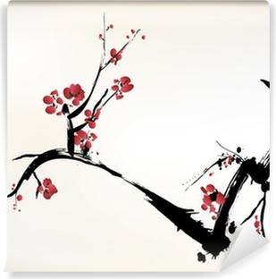 Blomstermaleri Vinyl fototapet
