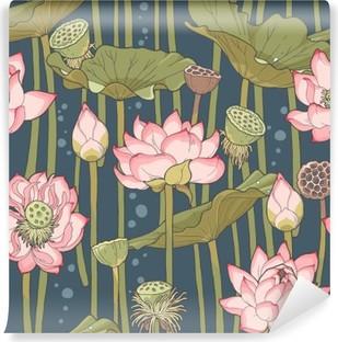 Fototapet av vinyl Blomstrende lotus sømløs