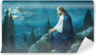 Fototapet av Vinyl Bön Jesus i Getsemane trädgård.