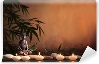 Fototapet av Vinyl Buddha med brinnande ljus och bambu