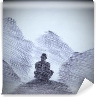 Fototapet av Vinyl Buddhistisk munk i fjällen