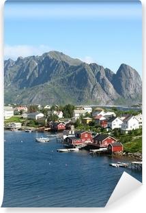 Fototapet av Vinyl Cabanes rouges sv Norvège