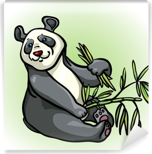 Cartoon Panda And Bamboo Leaves Canvas Print Pixers We Live To