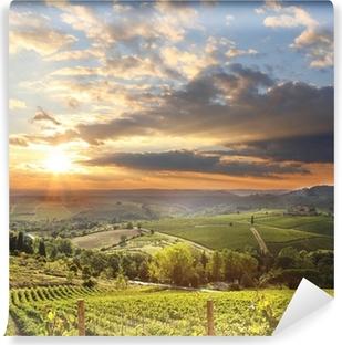 Fototapet av Vinyl Chianti vingård landskapet i Toscana, Italien