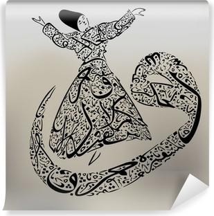 Fototapet av Vinyl Dervish och arabiska kalligrafi brev