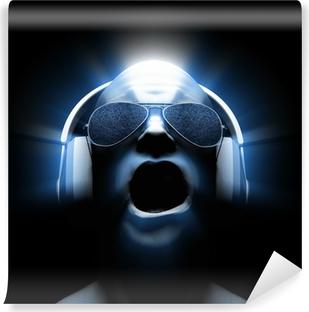 Fototapet av vinyl DJ med hodetelefoner