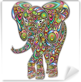 Fototapet av Vinyl Elephant Psychedelic popkonst Design on White