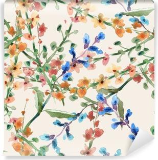 Fototapet av Vinyl Fält blommor sömlösa mönster