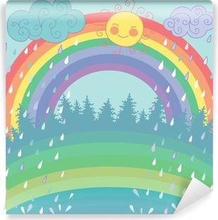 Fototapet av Vinyl Färgrik bakgrund med en regnbåge, regn, sol i tecknad stil