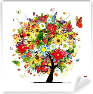 Fire årstider koncept. Kunst træ til dit design Vinyl fototapet