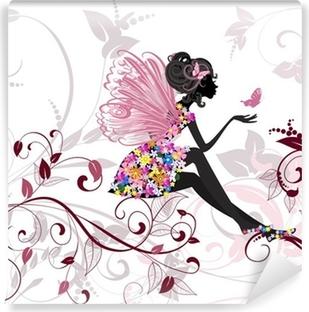 Fototapet av Vinyl Flower Fairy med fjärilar