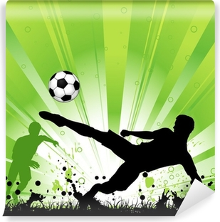 Fodboldspiller på grunge baggrund Vinyl fototapet