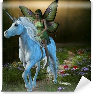Fototapet av Vinyl Forest Fairy och Unicorn