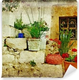 Fototapet av Vinyl Gamla byar i Grekland - konstnärlig retrostil