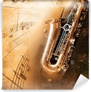 Fototapet av Vinyl Gamla saxofon med smutsiga bakgrund