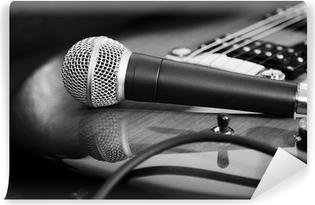 Fototapet av Vinyl Gitarr och mikrofon
