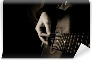 Fototapet av Vinyl Gitarr på svart bakgrund