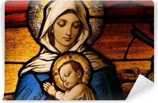 Fototapet av Vinyl Glasmålningar föreställande Jungfru Maria som håller Jesusbarnet