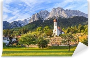 Fototapet av Vinyl Grainau by och Zugspitze ovanpå Tyskland