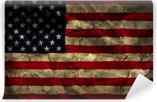 Fototapet av Vinyl Grunge amerikanska flaggan bakgrund