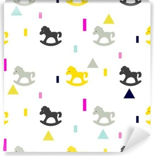 Gyngende hestegrå, pink og gult barnemønster. Baby hest legetøj vektor sømløs mønster til stof print og beklædning. Vinyl fototapet