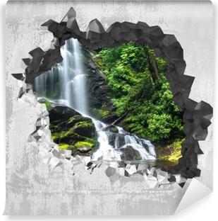Fototapet av Vinyl Hål i väggen - Vattenfall i skogen