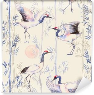 Fototapet av Vinyl Handritade akvarell seamless med vita japanska dans kranar. Upprepad bakgrund med känsliga fåglar och bambu