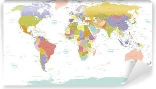 Fototapet av Vinyl High Detail World map.Layers används.