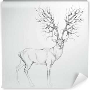 Fototapet av vinyl Hjort med Antler som tre / Realistisk skisse