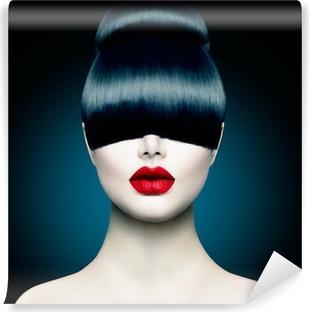 Høj mode model pige portræt med trendy frynse Vinyl fototapet