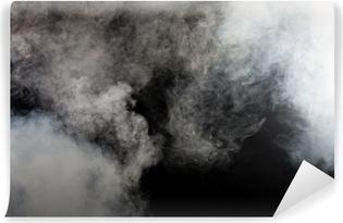 Hvid røg på sort baggrund. Isoleret. Vinyl fototapet