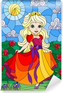 Fototapet av Vinyl Illustration i färgad glasstil med en söt prinsessa på en bakgrund av blommor och solig himmel