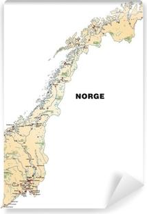 Fototapet av Vinyl Island karta över Norge i orange