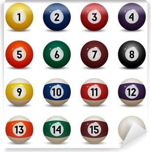 Fototapet av vinyl Isolerte fargede bassengballer. Tall 1 til 15 og null ball