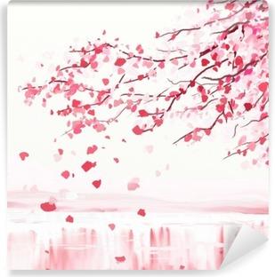 Japansk kirsebærtræ Vinyl fototapet